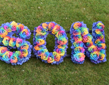 Rainbow roses and Hydrangea lettering